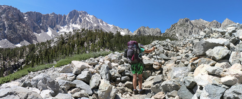 The Kearsarge Pass Trail goes right through a talus field as it nears Gilbert Lake