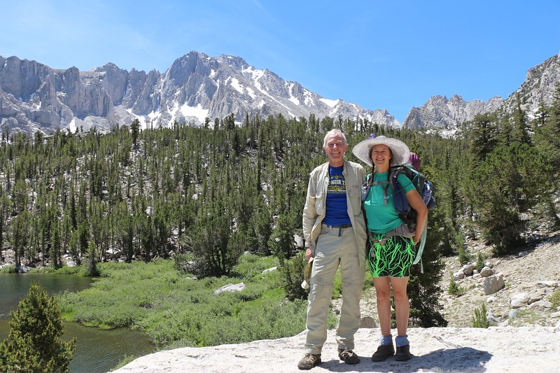 Vicki and I with University Peak from the big boulder on Gilbert Lake, on the Kearsarge Pass Trail