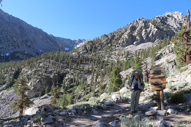 Me posing at the John Muir Wilderness Sign near the beginning of the Kearsarge Pass Trail