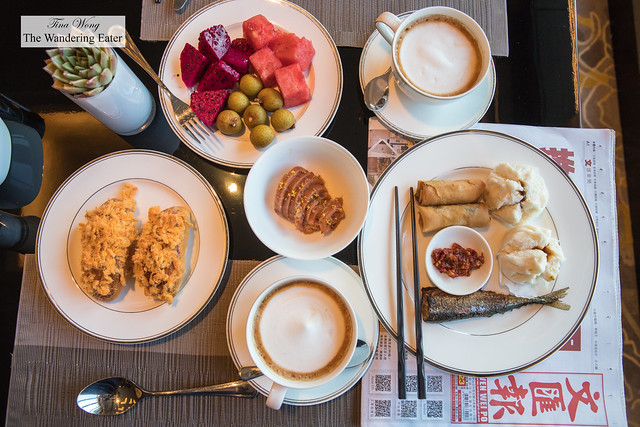 Breakfast spread at the Executive Lounge