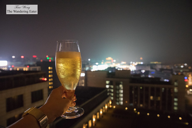 Beer with a view of Hangzhou's Central Busines District at night