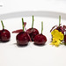 Foie gras shaped like cherries