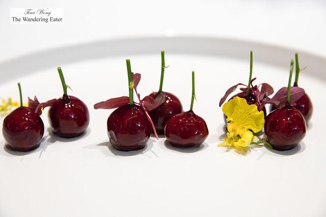 Foie gras shaped like cherries
