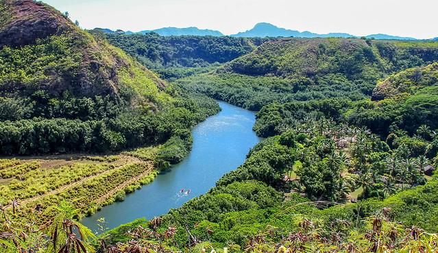 Wailua River Valley on the island of Kauai, Hawaii