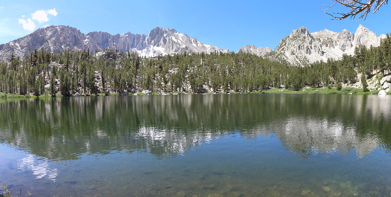 Panorama shot of Gilbert Lake, with University Peak left of center, on the Kearsarge Pass Trail