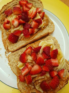 Peanut Butter, Banana, Strawberries on Toast