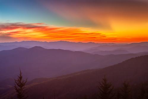 gsmnp greatsmokymountains greatsmokymountainsnationalpark mountains clingmansdome sunset