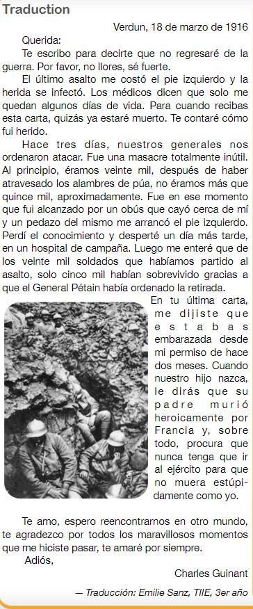Última carta del soldado Charles Guinant