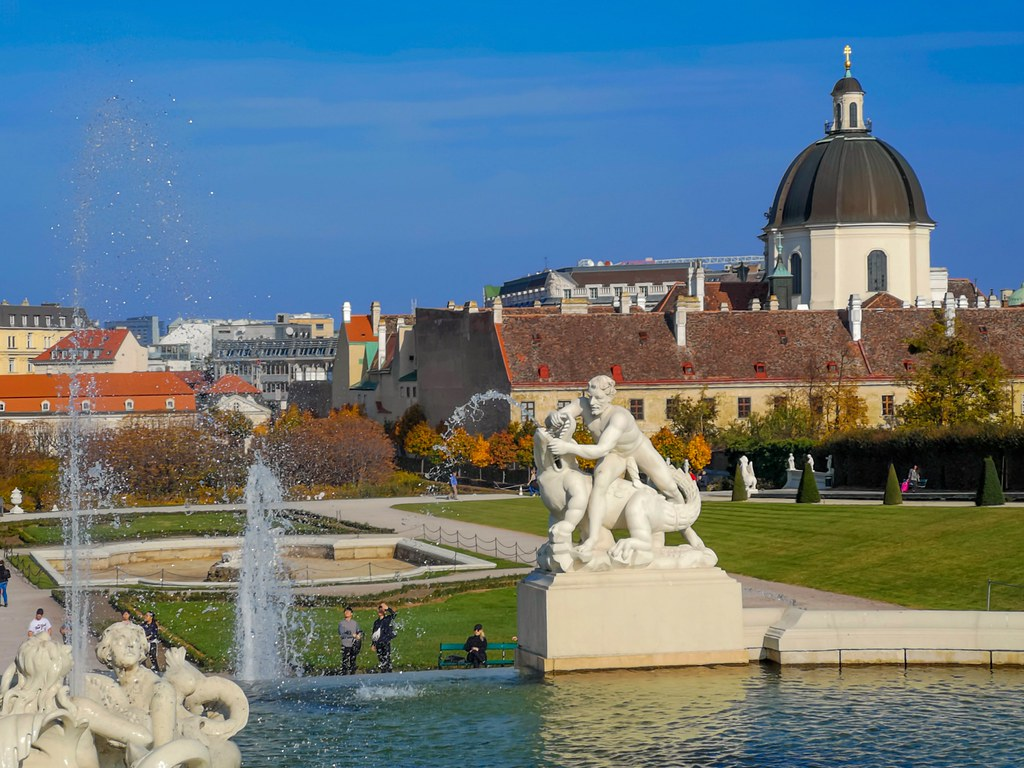 One area of the many fountains in Lower Belvedere Palace in Vienna.