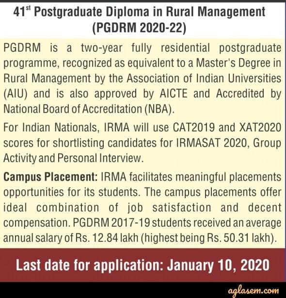 IRMA 2020 admission notice