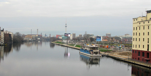 Berlin wall viewed from Oberbaum Bridge, Berlin, December 2008