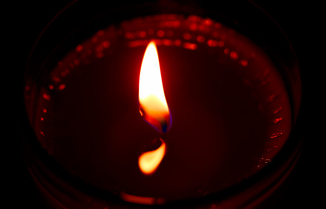 flame and its reflection