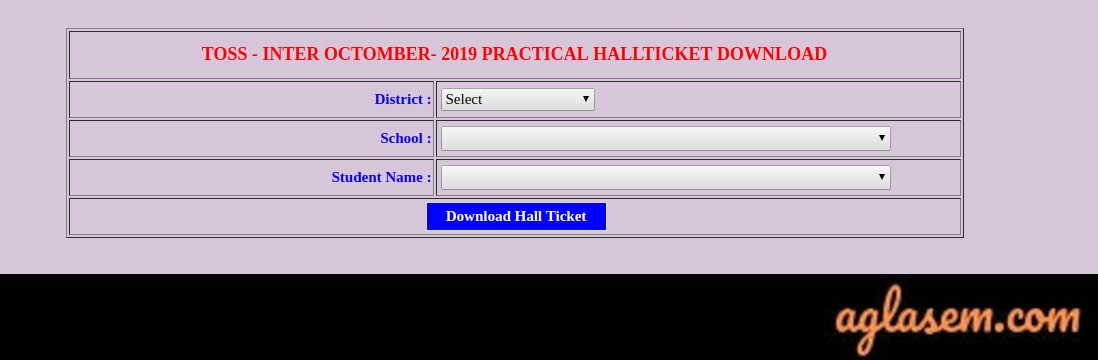 TOSS Inter Hall Ticket Oct 2019