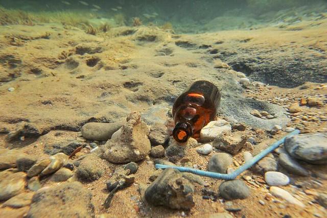 Basura en el mar (botella y pajita de plástico)