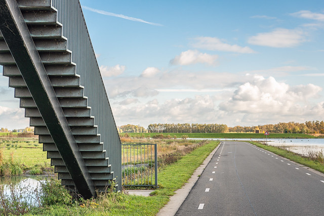 Stairs to the Noordwaard polder viewpoint