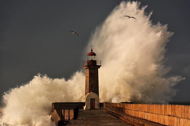 Giant waves at Felgueiras lighthouse, in Porto.