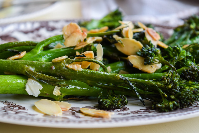 Grilled Tenderstem Broccoli with Almonds and Anchovy Butter