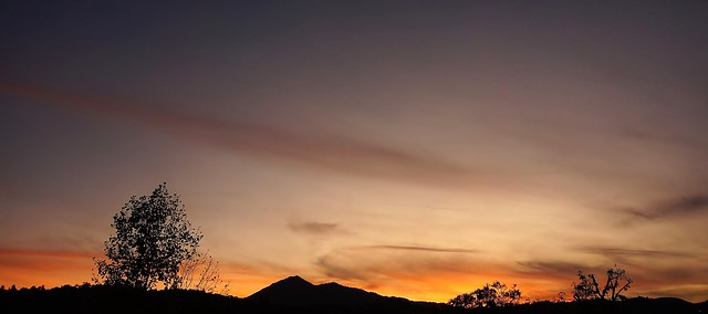 Sunset above Mt. Tam ridge line, taken from downtown San Rafael, Ca.