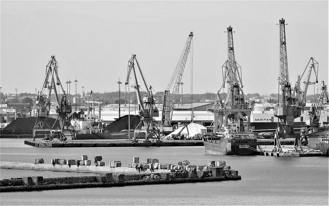 Port of Thessalonica B&W