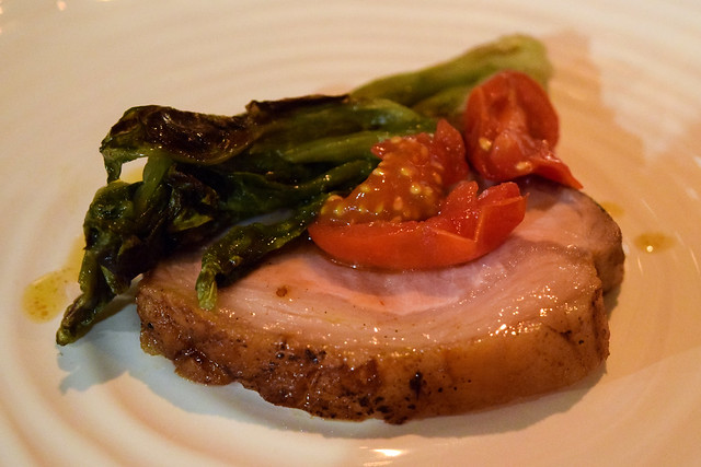 Pork, Preserved Lettuce and Fermented Tomatoes at The Compasses Inn and The Small Holding Guest Chef Dinner.
