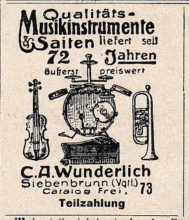 1927 ad for musical instruments  by Wunderlich