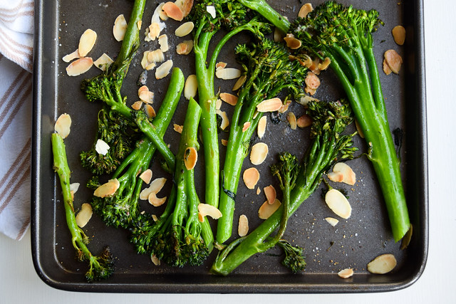 Grilled Tenderstem Broccoli with Almonds & Anchovy Butter