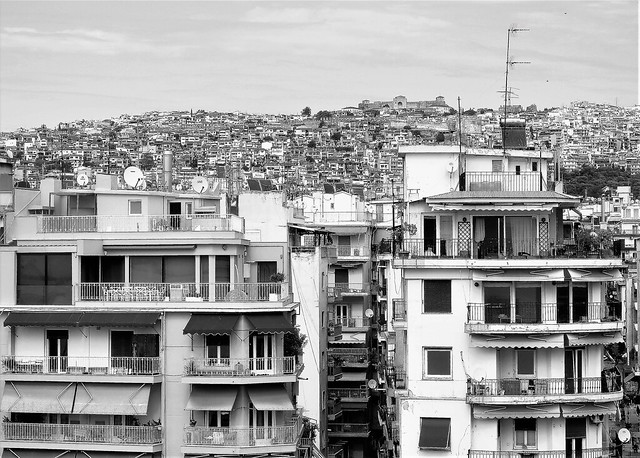 City Rooftops B&W - Thessalonica
