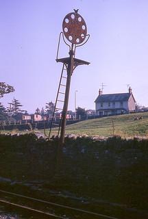 Ffestiniog Railway disc signal near Minffordd, October 1965.