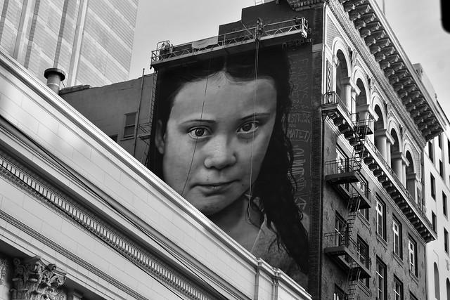 Greta Thunberg mural by Cobre in San Francisco in progress