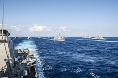 USS Milius (DDG 69), left, sails in formation with ships of the Japan Maritime Self-Defense Force, Royal Australian Navy and Royal Canadian Navy in the Philippine Sea during Annual Exercise, Nov. 11. (U.S. Navy/MC2 Taylor DiMartino)