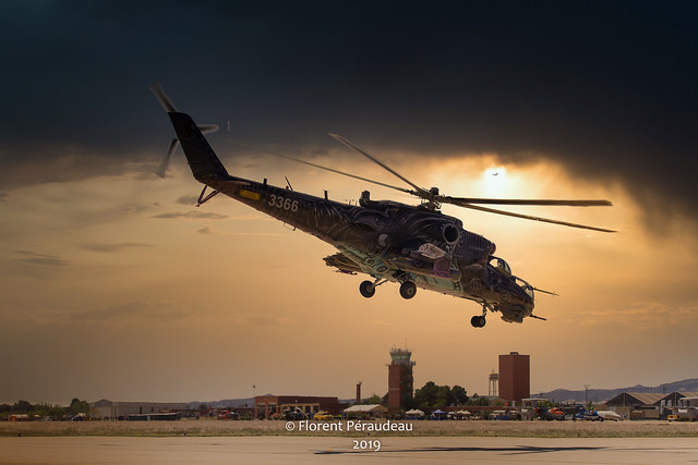 sunset take off for the Czech Air Force  MIL MI 24 Hind