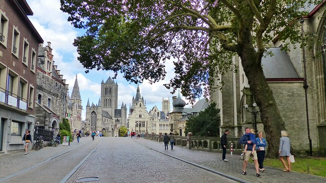 Gent - De drie torens vanaf Sint-Michiels