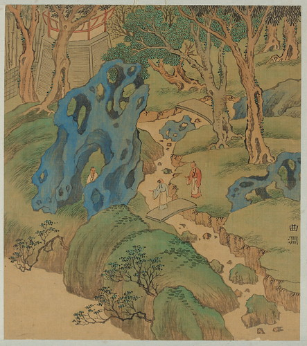 "Song Maojin (?–after 1620) Winding Brook in ""Fifty Views of Jichang Garden"" Ming dynasty, early 17th c.  Album leaf, ink and colors on silk 13"" x 11"" Wuxi Museum, China. From San Antonio Museum of Art Rocks With New Chinese Acquisition"