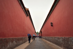 Chinese inner alleys and red walls in Forbidden City palace complex, Beijing, China