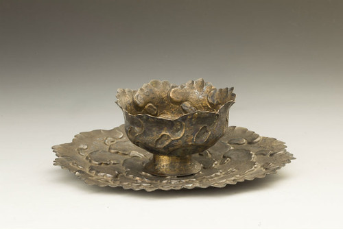 "Wine Cup and Plate in the Shape of Peonies, Yuan dynasty, 13th c., Silver, 2.5"" x 7.1"", Wuxi Museum, China (J4-20). From San Antonio Museum of Art Rocks With New Chinese Acquisition"