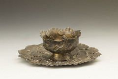 """Wine Cup and Plate in the Shape of Peonies, Yuan dynasty, 13th c., Silver, 2.5"""" x 7.1"""", Wuxi Museum, China (J4-20)"""