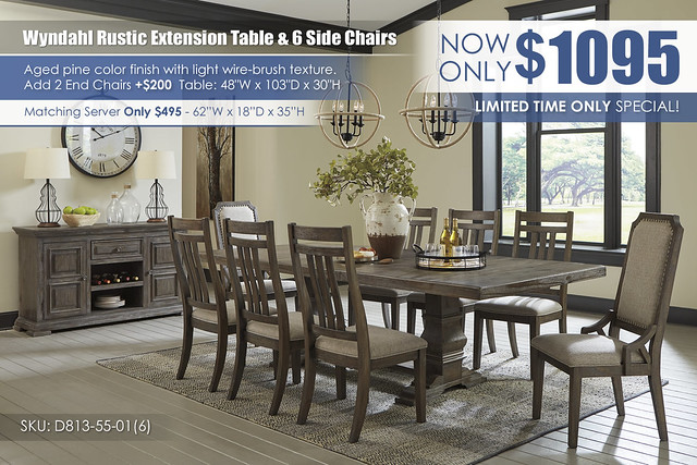 Wyndahl Rustic Brown Dining Table with 6 Side Chairs_D813-55-01(6)