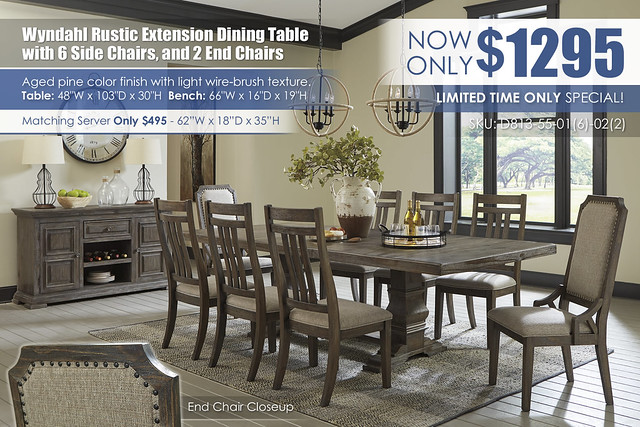 Wyndahl Rustic Brown Dining Table with 6 Side Chairs and 2 End Chairs_D813-55-01(6)-02(2)-60