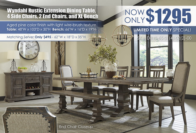 Wyndahl Rustic Brown Dining Room Collection_D813-55-01(4)-02(2)-00-60