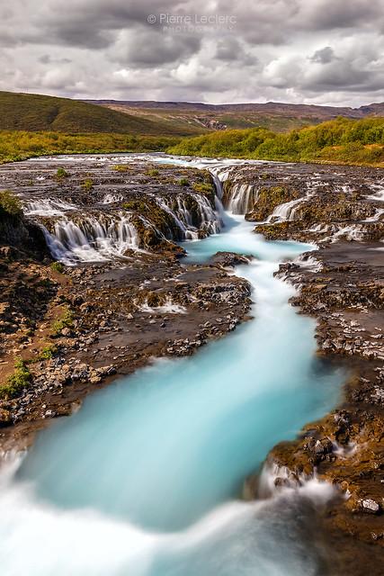 Blue water of Bruarfoss Iceland