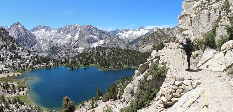 The Kearsarge Pass Trail stays high above Bullfrog Lake with great views into Kings Canyon National Park