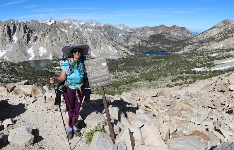 Vicki entering Kings Canyon National Park at Kearsarge Pass, 11760 feet elevation