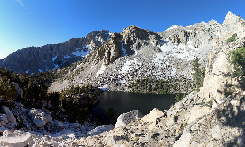 View of Heart Lake down below us on the Kearsarge Pass Trail
