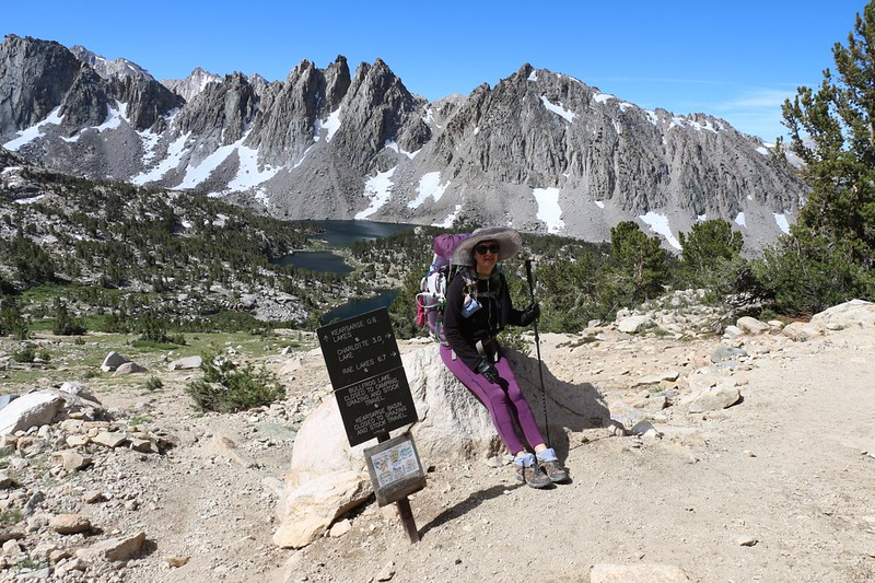 Vicki at the trail junction above the Kearsarge Lakes - we would be taking the high trail toward Rae Lakes