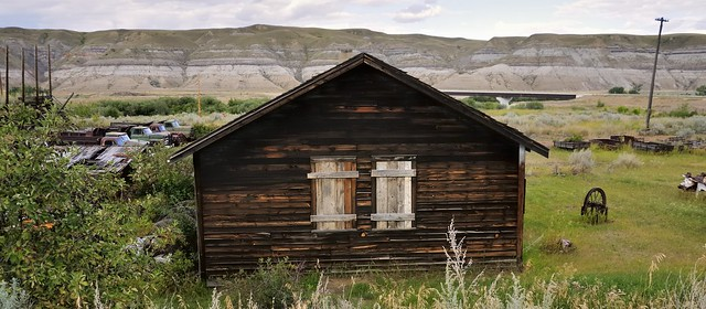 Boarded-up bunkhouse - Atlas Coal Mine, East Coulee, Alberta.