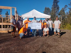 Hawaii Electric Light at Habitat for Humanity's Team Build Day — Nov. 2, 2019: Sharon Suzuki, president of Maui County and Hawaii Island Utilities, also presented Habitat for Humanity with a $50,000 grant on behalf of Hawaii Electric Light.