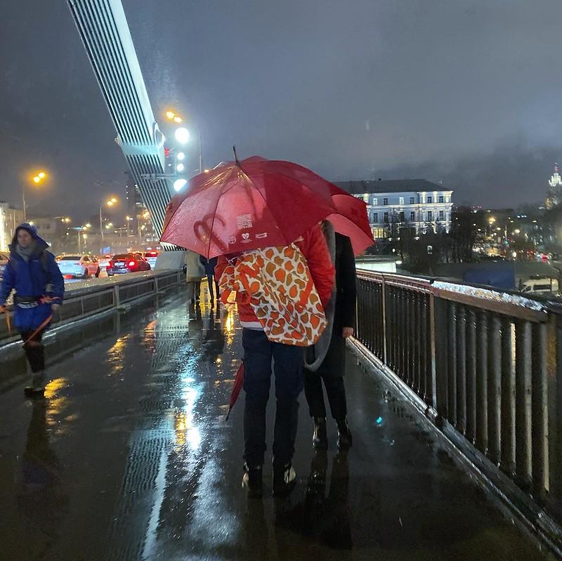 Крымский мост осенним дождем