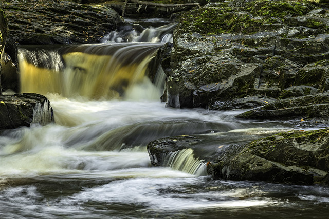 Middle Falls of the Silver Riverr in Huron Mountains in Michigan's Upper Peninsula