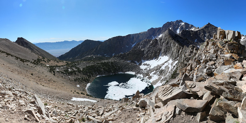 Panorama view east from Kearsarge Pass, with Big Pothole Lake down below us