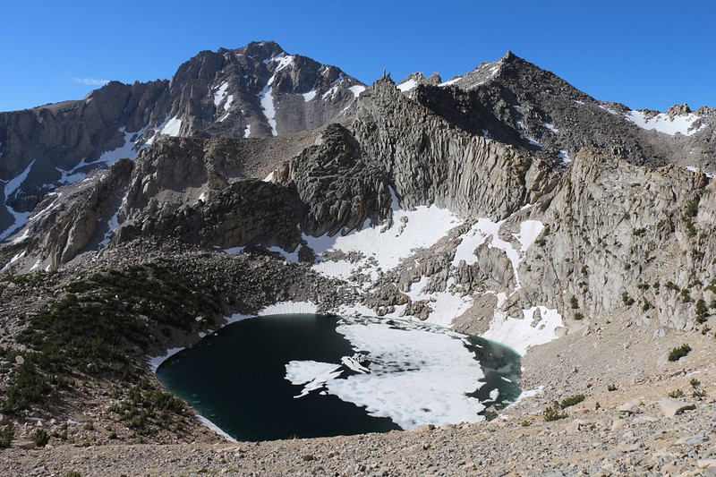 University Peak and Big Pothole Lake still melting out, from the Kearsarge Pass Trail